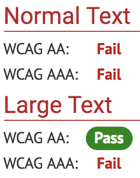 Only for headline text: Large text passes WCAG AA contrast requirements.
