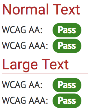 Normal and large text pass