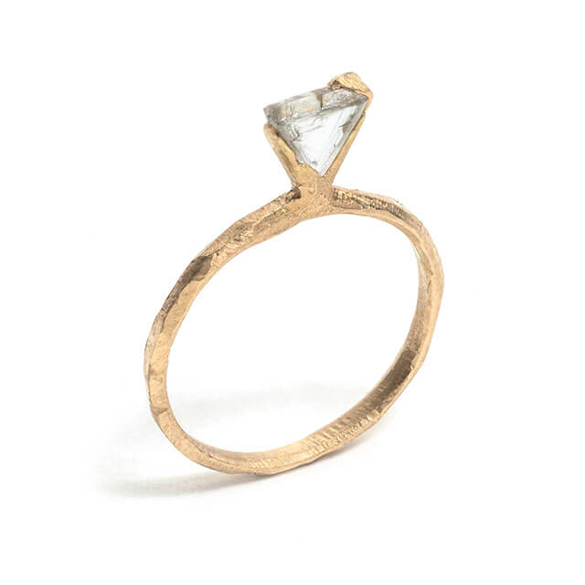 Tessa Blazey | Canadian rough diamond & 18ct yellow gold | Unique handmade engagement ring | Melbourne | bespoke ring