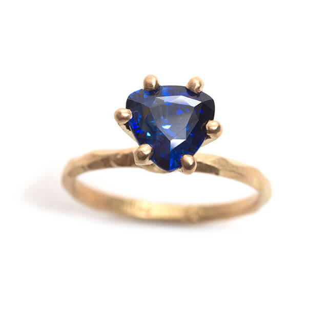 Tessa Blazey | Ceylon sapphire & 18ct yellow gold | Unique handmade engagement ring | Melbourne | bespoke ring