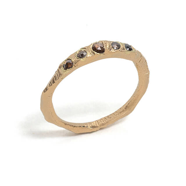 Tessa Blazey | Rose cut champagne diamonds & 18ct yellow gold | | Unique handmade wedding ring | Melbourne | bespoke ring