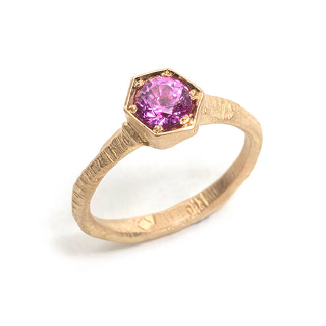 Tessa Blazey | Hot pink sapphire & 18ct yellow gold | | Unique handmade engagement ring | Melbourne | bespoke ring
