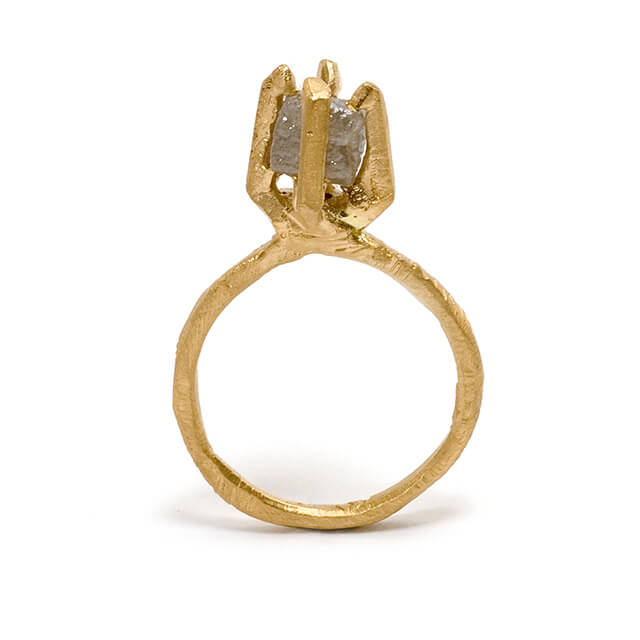 Tessa Blazey | Canadian rough diamond & 18ct yellow gold | Unique handmade engagement ring | Melbourne | custom ring