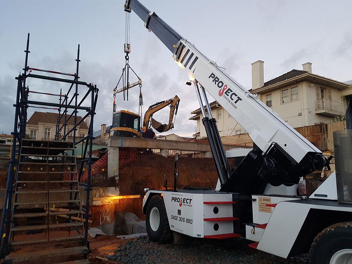 Project Crane & Rigging franna crane hire machinery relocation Melbourne
