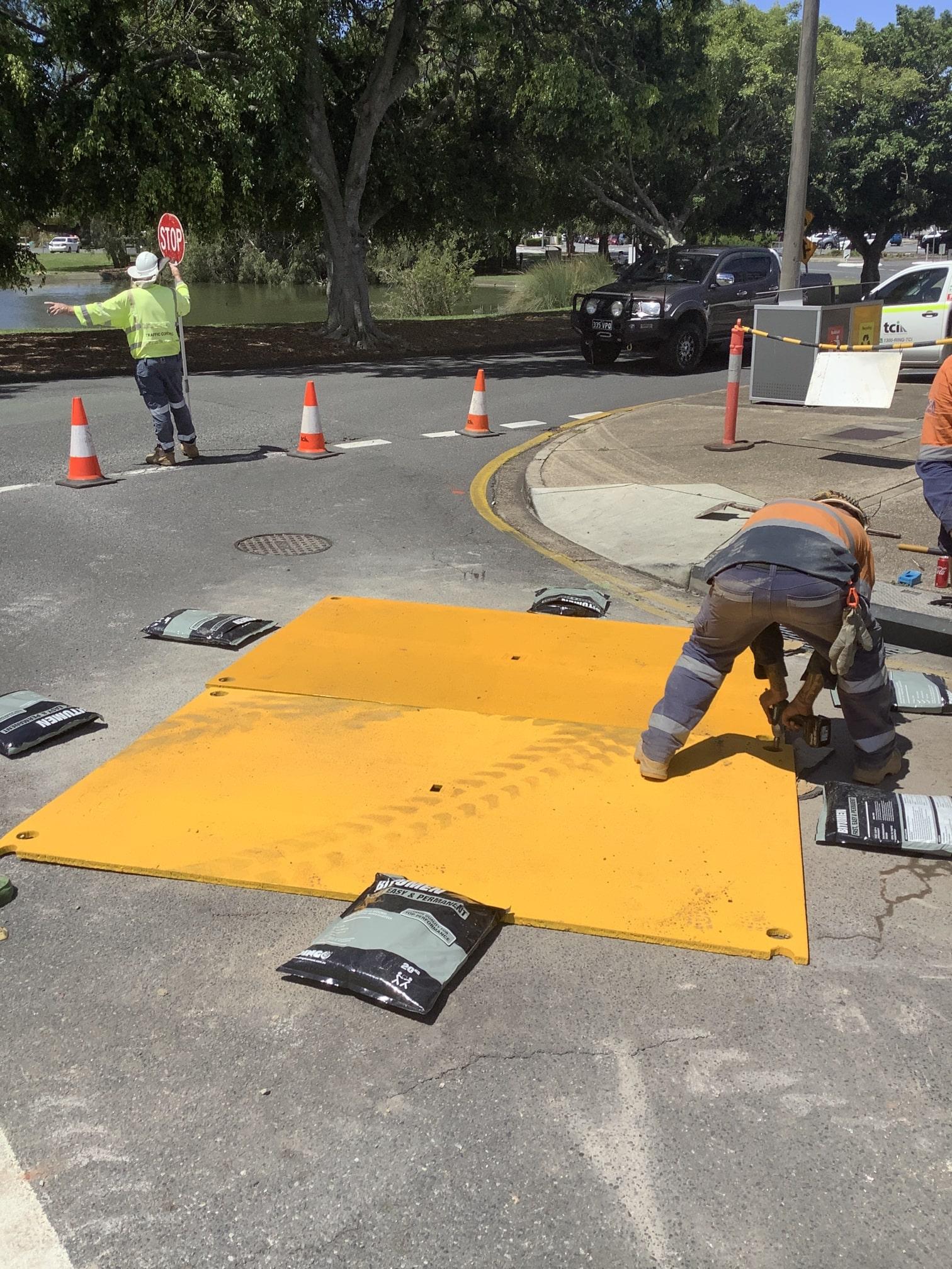 scopecranes steel road plate covering hole