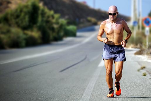 summer runner on the road