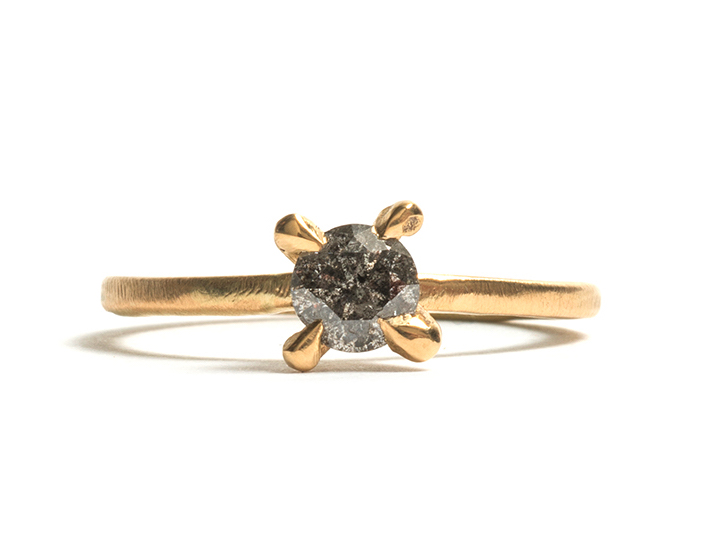 Tessa Blazey | Salt & pepper diamond & 18ct yellow gold | Unique handmade engagement ring | Melbourne | custom ring
