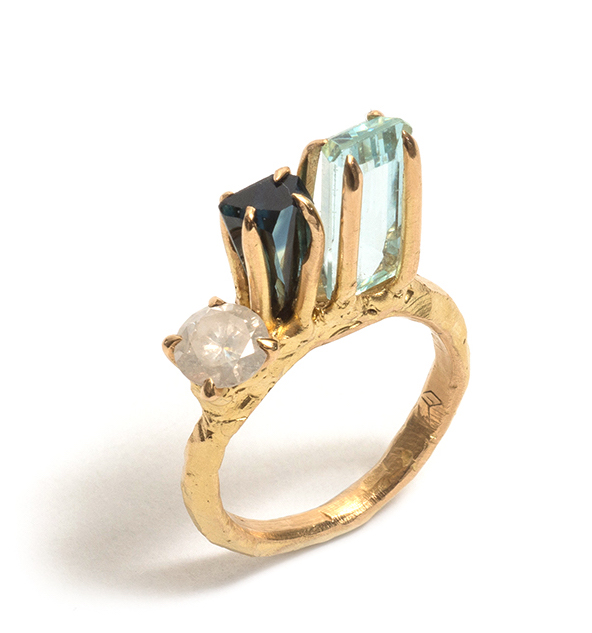 Tessa Blazey | Aquamarine, Australian sapphire, diamond & 18ct yellow gold. Unique handmade engagement ring Melbourne