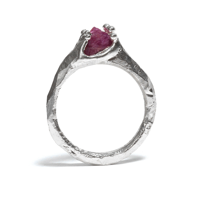 Tessa Blazey | Rough ruby & sterling silver | Unique handmade engagement ring | Melbourne | custom ring