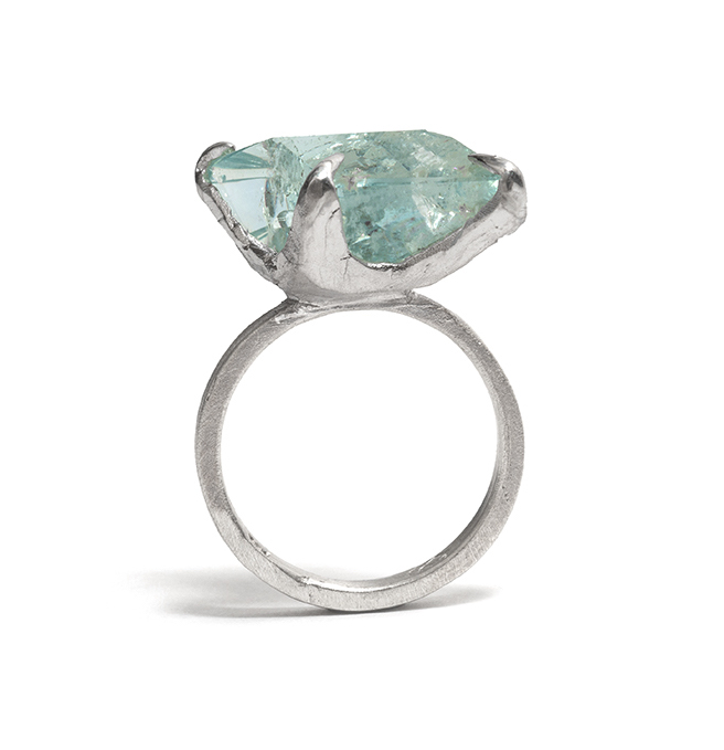 Tessa Blazey | Freeform aquamarine & sterling silver | Unique handmade engagement ring | Melbourne | custom ring