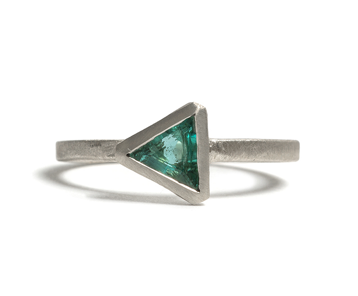 Tessa Blazey | Emerald & 9ct white gold | Unique handmade engagement ring | Melbourne | bespoke ring