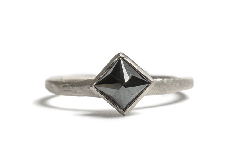 Tessa Blazey |  Black diamond & 9ct white gold | Unique handmade engagement ring | Melbourne | custom ring