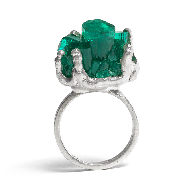 Tessa Blazey | Synthetic emerald & sterling silver. Unique handmade ring Melbourne | Australian Contemporary Jewellery
