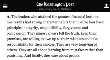 washington post - los mejores líderes tienen fuertes habitos sobre integridad, responsabilidad, permiso y compasion.