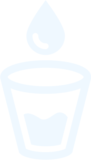Drinking water delivery and tank fills icon (a cup with water droplets going into it)