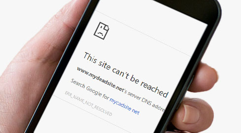 Mobile phone with site can't be reached message